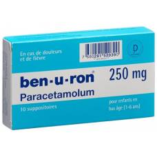 Ben-u-ron Supp 250 mg Child 10 pcs