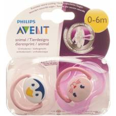Avent philips soother 0-6 months animals girl 2 pcs