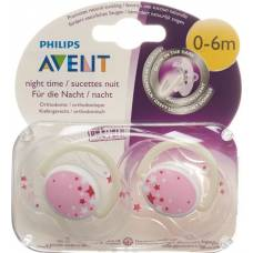 Avent philips soother night 0-6 months rose 2 pcs