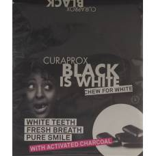Curaprox black is white chewing gum display with 12 blister