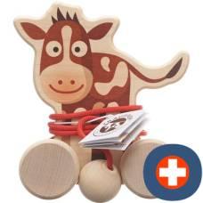 Bimbosan trauffer wooden cow on wheels