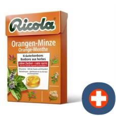 Ricola orange mint herbal sweets without sugar 50g box