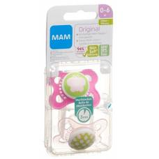 Mam original pacifiers silicone 0-6 months girl 2 pcs