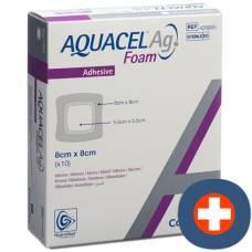 Aquacel ag foam adhesive foam dressing 8x8cm 10 pcs