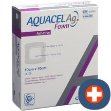 Aquacel ag foam adhesive foam dressing 10x10cm 10 pcs