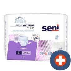 Seni active plus elastic incontinence pants l premium quality breathable 10 pcs