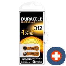 Duracell battery easytab 312 zinc air 1.4v d6 6 pcs