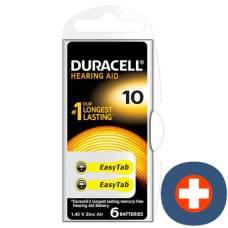 Duracell battery easytab 10 zinc air d6 1.4v 6 pcs