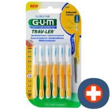 Gum sunstar proxabrush trav-ler iso standard 1.3mm 4 conic yellow 6 pcs