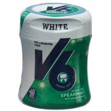 V6 white chewing gum spearmint ds 60 pcs
