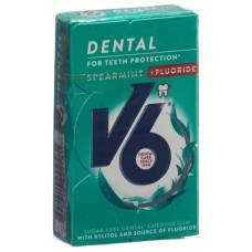 V6 dental care gum spearmint + fluorides box