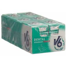V6 dental care gum spearmint + 24 fluorides box