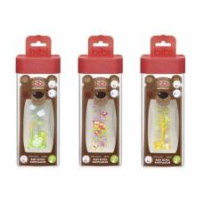Bibi narrow neck bottle happiness pp 260ml natural silicone 0+ m play with us assorted sv-a + b 6 pcs