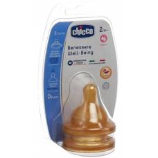 Chicco physiological anti-colic teats rubber. 2 hole. medium flow 2m + it / de / fr 2 pcs