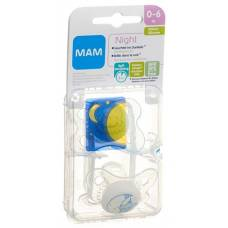 Mam night soother silicone 0-6 months boy 2 pcs