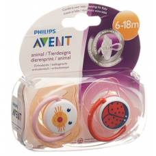 Avent philips soother animals 6-18 months girl 2 pcs