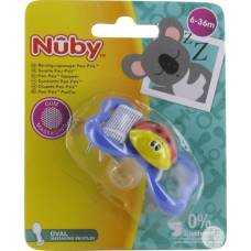 Nuby pacifier paci-pals oval silicone with nubs 6-36 months