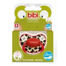 Bibi nuggi happiness dental silicone 16+ with ring tiger swiss red sv-a