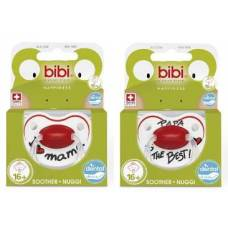 Bibi nuggi happiness dental silicone 16+ with ring mama / papa sv-a