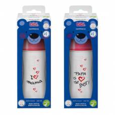 Bibi narrow neck bottle happiness pp natural silicone 260ml 2+ m mom / papa assorted sv-a + b new