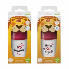 Bibi narrow neck bottle happiness pp natural silicone 120ml 0+ m mom / papa assorted sv-a + b new