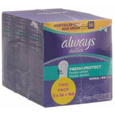 Always panty liner fresh & protect normal trio advantage pack 3 x 56 pcs