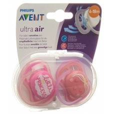 Avent philips ultra pacifier air 6-18 months deco girl 2 pcs