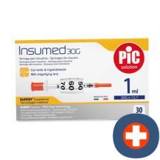 Pic insumed syringe insulin 1ml luer needle 30 pcs