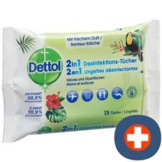 Dettol 2in1 disinfectant wipes 15 pcs