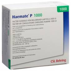 Haemate p trockensub 1000 iu of solvent for solution for injection vial set +