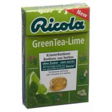Ricola green tea-lime without sugar with stevia box 50 g