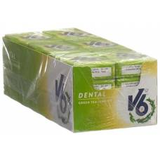 V6 dental care gum green tea jasmine 24 box